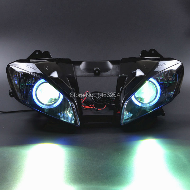 HID Projector Assembly Blue Halo Red Demon Eyes HeadLamp For Yamaha YZF-R6 06-07