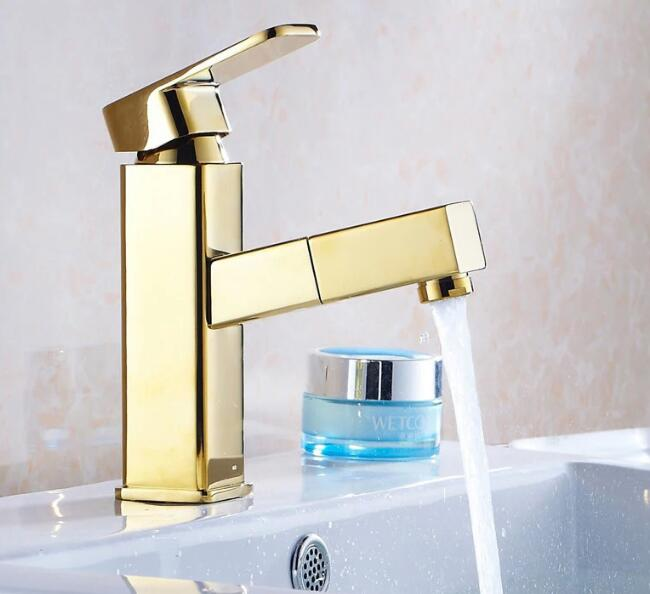 Deck mounted Golden finish pull out kitchen & bathroom Faucet basin mixer tap sink faucets washbasin tapsDeck mounted Golden finish pull out kitchen & bathroom Faucet basin mixer tap sink faucets washbasin taps