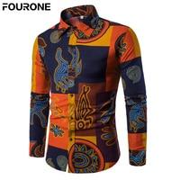 Autumn Men Floral Print Slim Fit Shirt Cotton Blend Turn Down Collar Long Sleeve Shirt Single