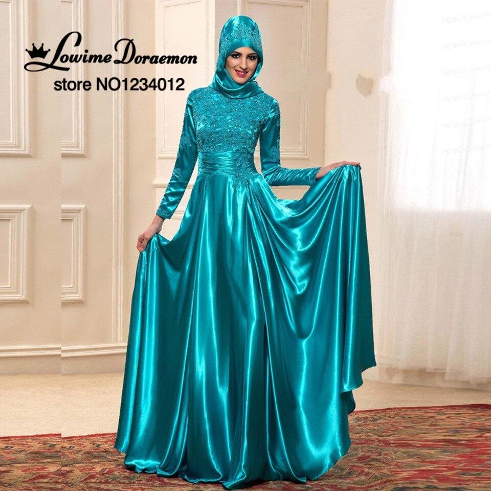2017 New Muslim Evening Dresses Real Long Sleeve Dubai Abaya Kaftan ...