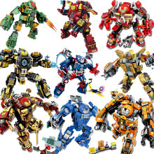 KAYGOO Marvel SuperHeroes Avengers batman Iron Man Hulk Buster Bricks Vehicle military Figures Building Bricks Blocks car Toys(China)