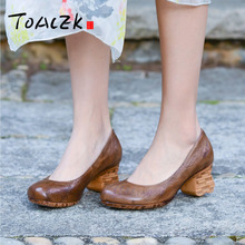 New spring and summer hand-made leather womens shoes individual casual rough singe in retro mid-heel