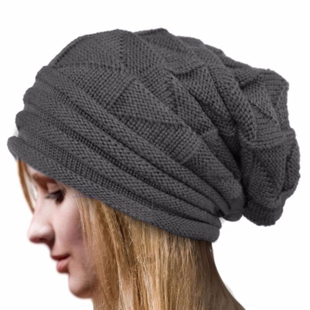 Beret Knit Slouchy Baggy Beanie Oversize Winter Hat Ski Slouchy Cap Women 2