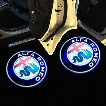 2 шт. для Alfa Romeo светодиодный проектор для двери автомобиля с логотипом Giulia Giulietta Mito Stelvio Brera 147 156 159