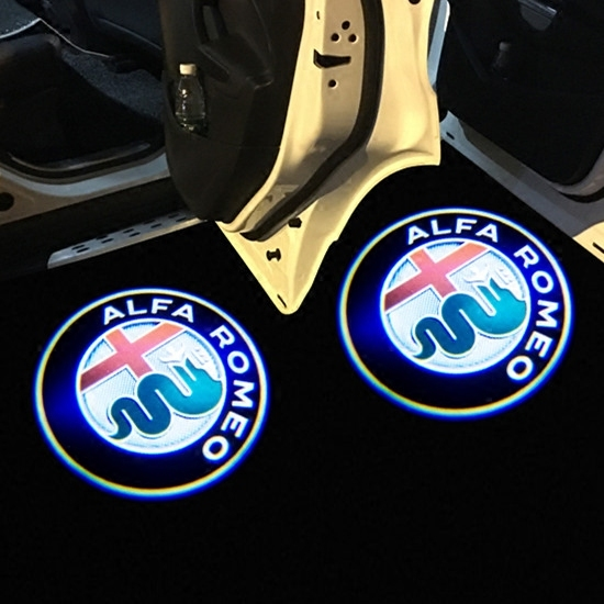 2Pcs for Alfa Romeo LED Car Door Welcome Light Logo Projector Giulia Giulietta Mito Stelvio Brera 147 156 159