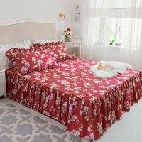 3Pcs/set Luxury Princess Cotton Lace Bedspread King Queen twin size Girls Bed skirt Bedsheet Pillowcase women flowers bedding
