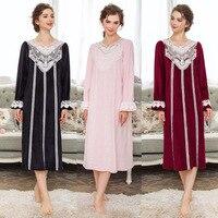 High Quality Winter Women Vintage Royal Warm Water Velvet Nightgown Princess Sweet Full Dress Sleepwear Vesitdos 063