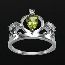 Mdean подлинная стерлингового серебра 925 твердые ювелирные изделия чистый зеленый cown aaa циркон кольца для женщин свадьба bague размер 5-12 j001