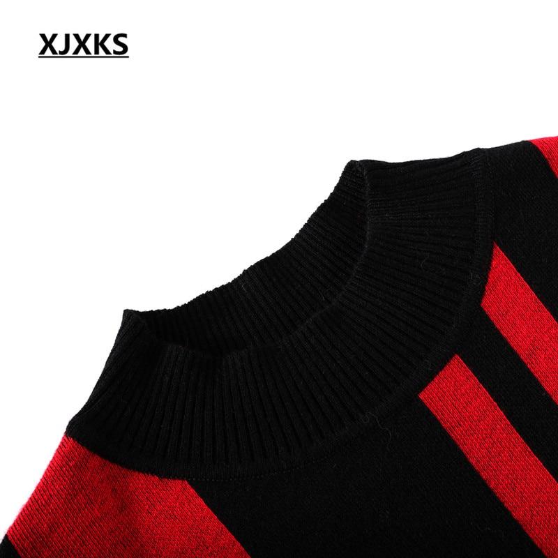 Tricoter rouge Mode Grande À light 2018 Confortable Chandail Tan Noir Rayé Robe Nouvelle Cachemire D'hiver Xjxks Lâche Taille Femmes 6UqRFggw