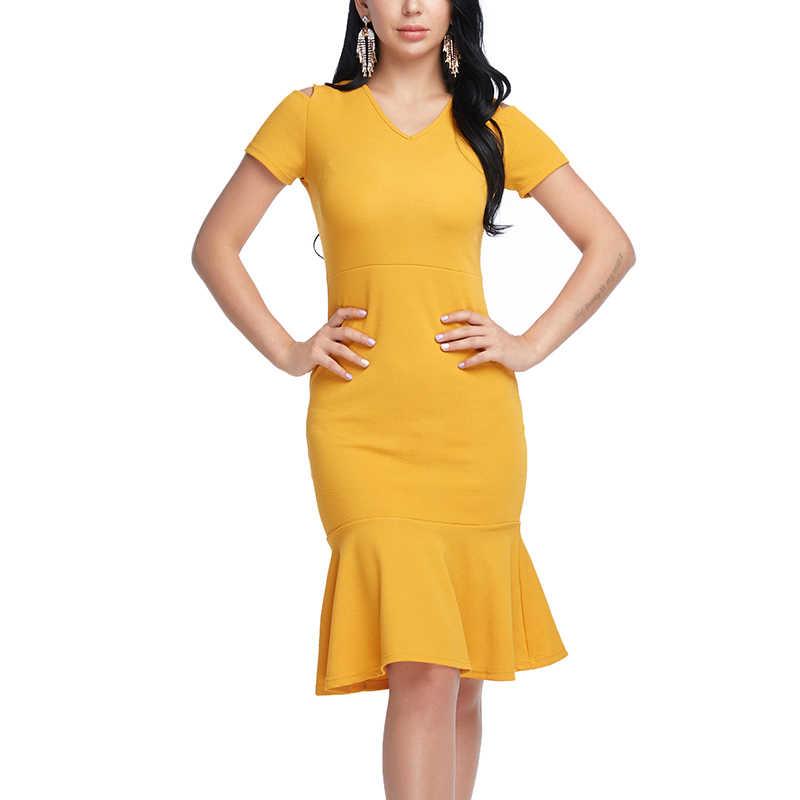 136321bebfad4ba Труба платье сексуальное платье футляр Для женщин Лето Плюс Размеры Желтый  платье Мода V шеи работа