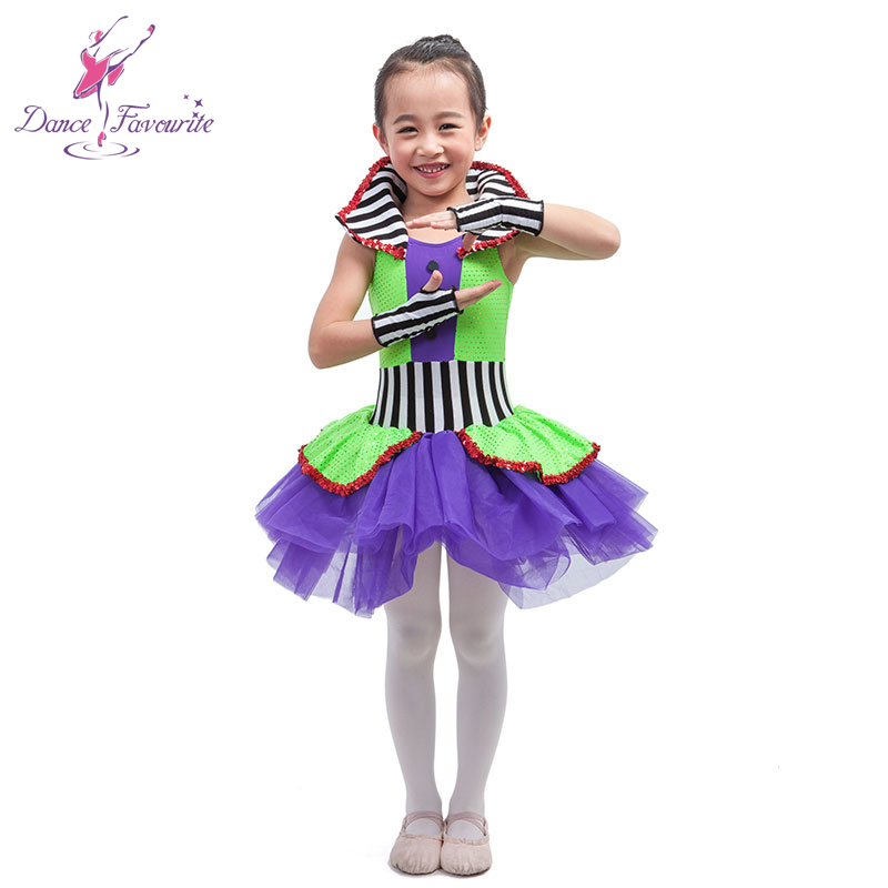 Dance Favourite New Arrival Child Jazz, Tap  Ballet Costume Tutu, Green/Purple Girl stage Performance Ballet Costume Tutu women dance costume