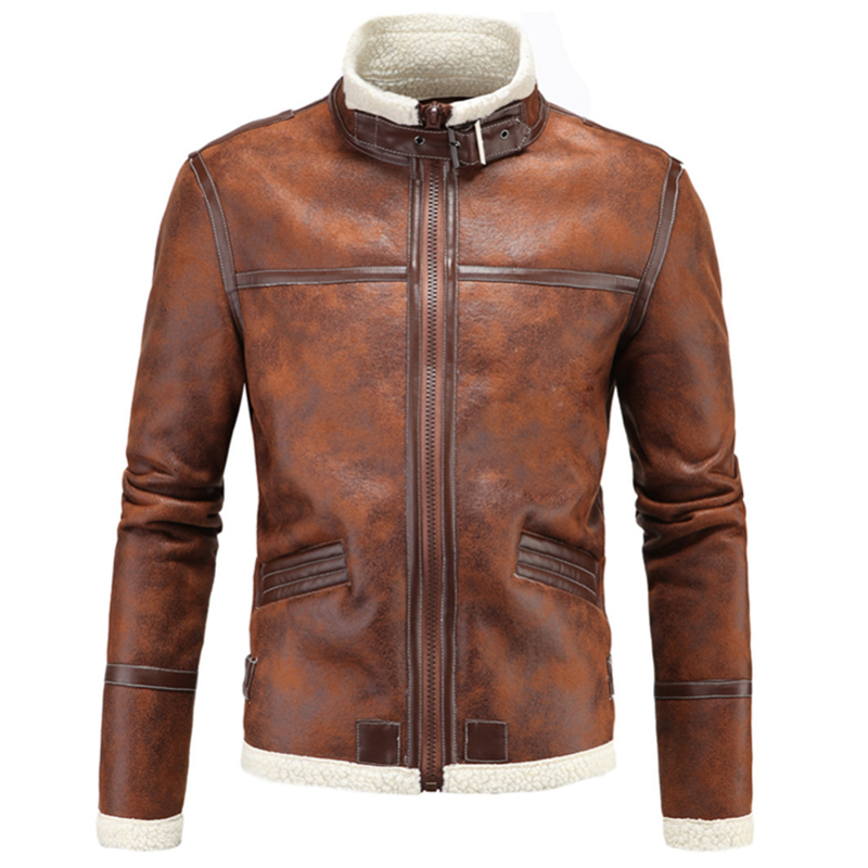 Thick Warm Winter Mens Leather With Fur Coats 2017 Designer Plus Size 5XL England Style Vintage Mens Fur Leather Jackets C1213 free shipping 2017 winter warm dhl brand clothing vintage jackets mens genuine pakistan cow leather biker jacket plus size
