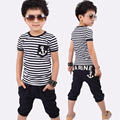 2017 Summer New Children Clothes Bow Striped Casual Baby Boys Clothes Sets Shorted-Sleeved T-shirt+Pants 2pcs Suits
