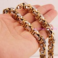 "8-40"" 8mm New Charming 316L Stainless Steel Silver Gold Byzantine Box Chain Mens Necklace&Bracelet Bangle Tone Jewelry"