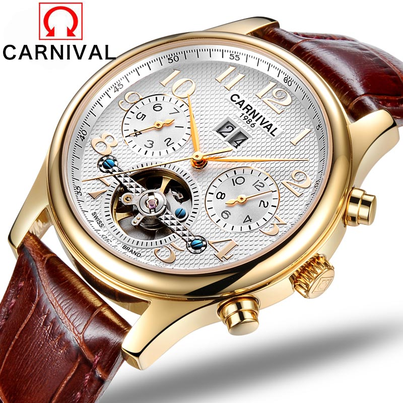 Fashion Luxury Brand Carnival Men Watch Automatic Mechanical Watches Hollow Men Tourbillon Mechanical Watch With Original Box
