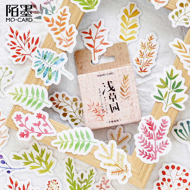 45pcs/pack Autumn Grass Adhesive Stickers Decorative Album Diary Stick Label Paper Decor Stationery Sticker
