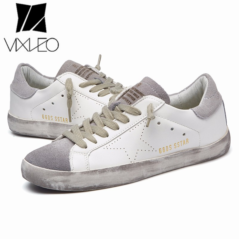 VIXLEO Casual Men Italy Designer Golden pu leather trainers super Star dirty Goose Shoes Footwear Zapatillas basket Unisex 36-44 tba brand designer 2018 italy golden genuine leather casual women shoes trainers goose star breathe shoes footwear zapatillas