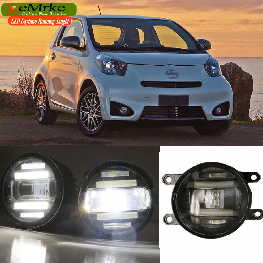 eeMrke Xenon White High Power 2in1 LED DRL Projector Fog Lamp With Lens For Scion Toyota IQ KGJ10 NGJ10 2012 2013 цена