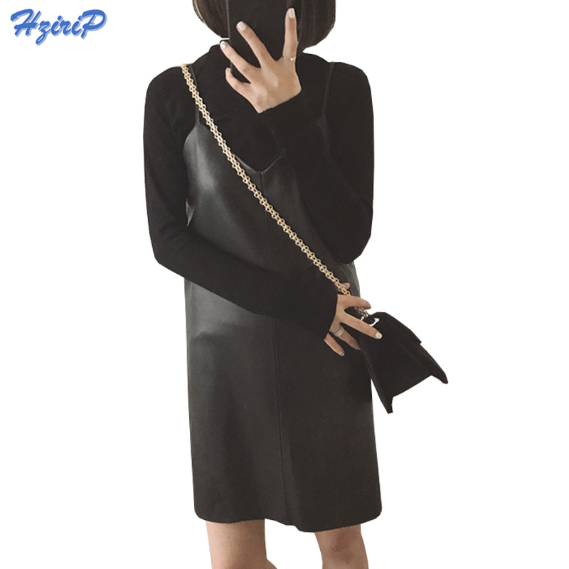 HziriP Women Sexy Faux Leather Midi Dress Winter Sleeveless Bottoming Dresses Autumn New Black Strap Soft PU Sundress Plus Size