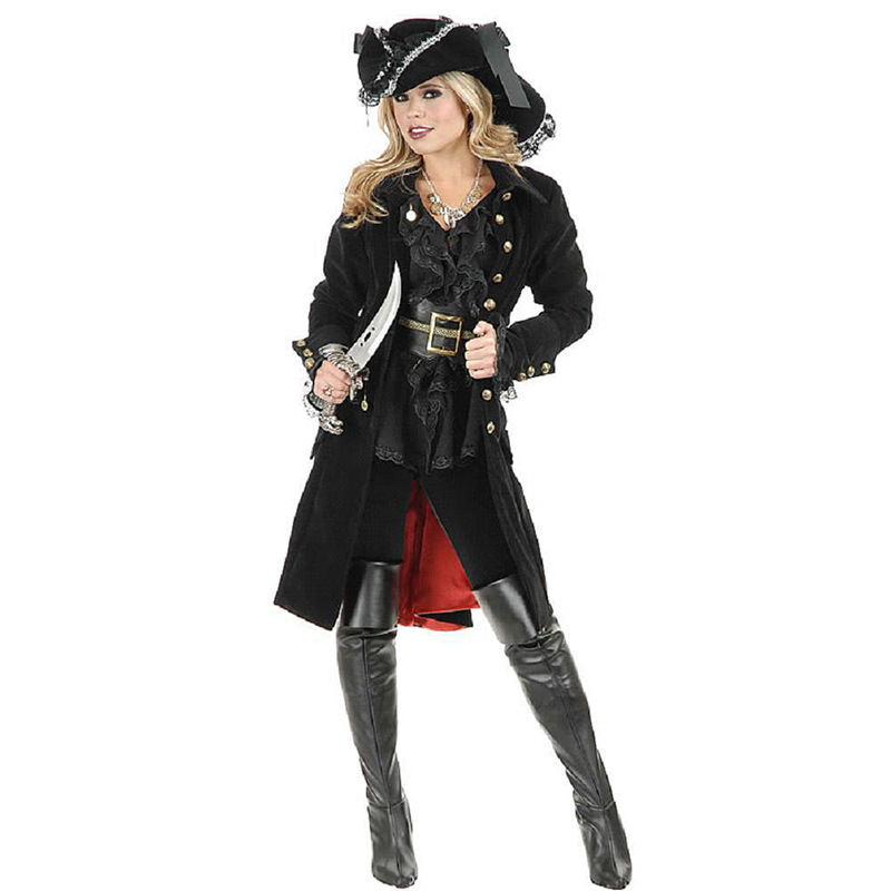 Deluxe Gothic Female Pirate Costume Pirates of the Caribbean Female Captain Cosplay Fantasia Fancy Dress