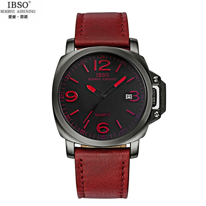 2015 Selling Brand IBSO BOERNI AIBISINO Unisex Ultra Thin Round Dial Analog Wrist Watch with Waterproof & Leather Band 8113 natate ibso women quartz watch crystal decorated large round dial analog wrist watch with waterproof woman leather band s3819