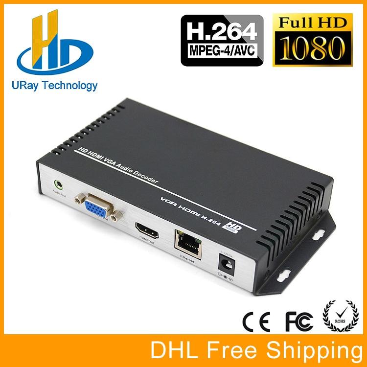 DHL Livraison Gratuite H.264/H264 HDMI et VGA HD Vidéo Audio Décodeur IP Décodeur Pour Le Décodage Vidéo HD encodeur Matériel
