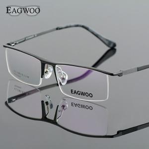 Image 1 - Oprawki optyczne ze stopu aluminium pół obręczy receptę mężczyźni prostokątne zielone okulary biznes sportowe spektakl 823022
