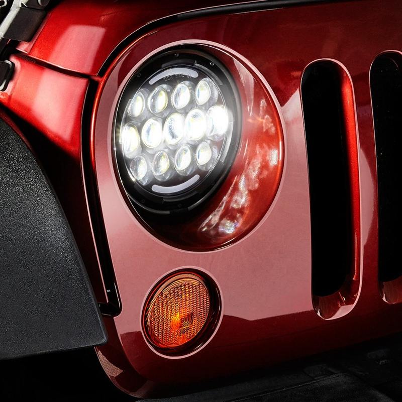 TNOOG High power DRL 7 inch 105W high low beam Round LED Headlight with DOT sign For Jeep Wrangler For Lada 4x4 urban UAZ Hunter black chrome round 75w high low beam drl led auto headlight driving fog lights for jeep wrangler hummer h1 h2 offroad
