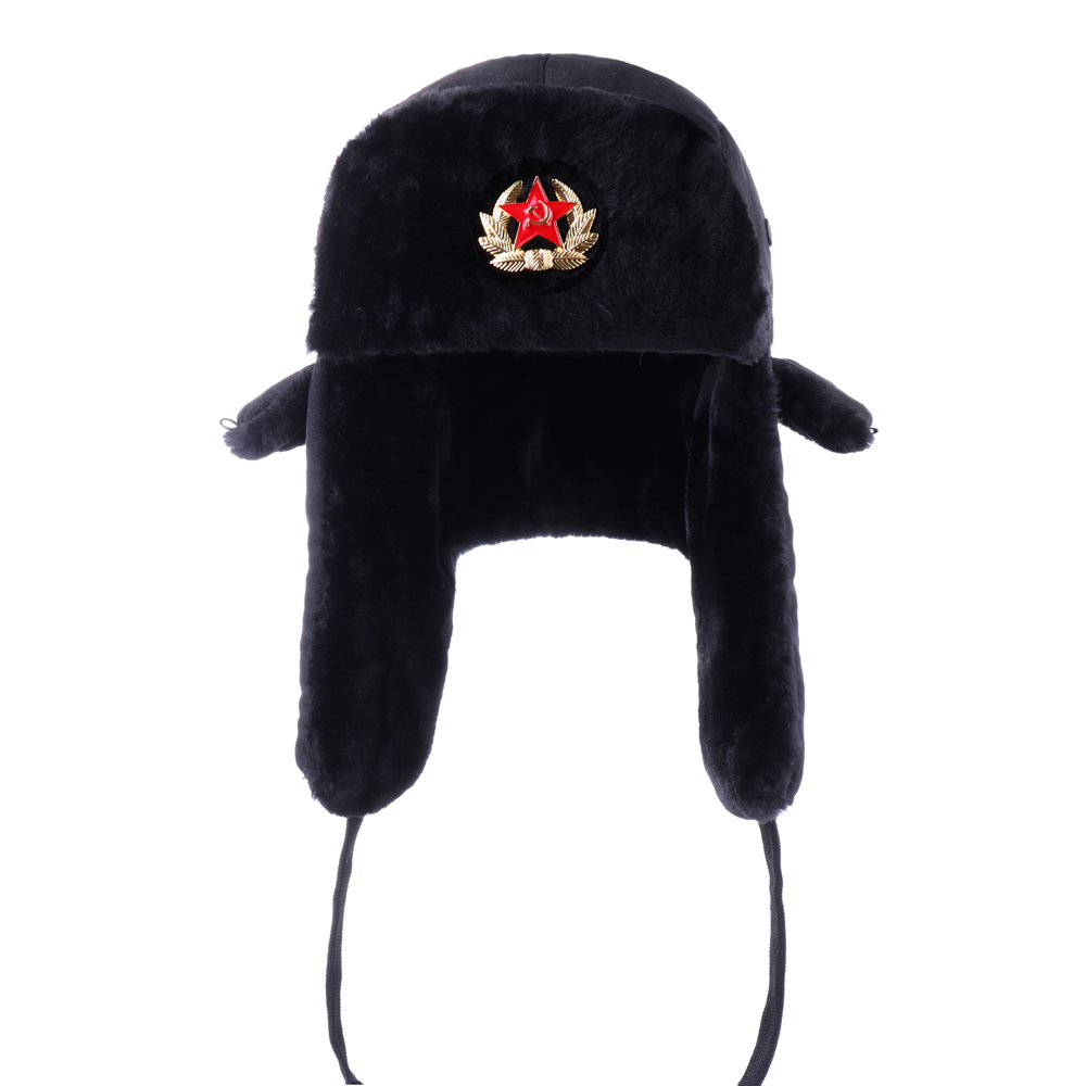Russian Ushanka Soviet Army Military Badge Bomber Hats Pilot Trapper Aviator Cap Winter Faux Fur Earflap Snow Ski Caps Dad Hat(China)