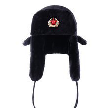 Russian Ushanka Soviet Army Military Badge Bomber Hats Pilot Trapper Aviator Cap Winter Faux Fur Earflap Snow Ski Caps Dad Hat cheap Polyester Cotton Acrylic BARRYKONE Unisex X068 Solid Adult Velvet
