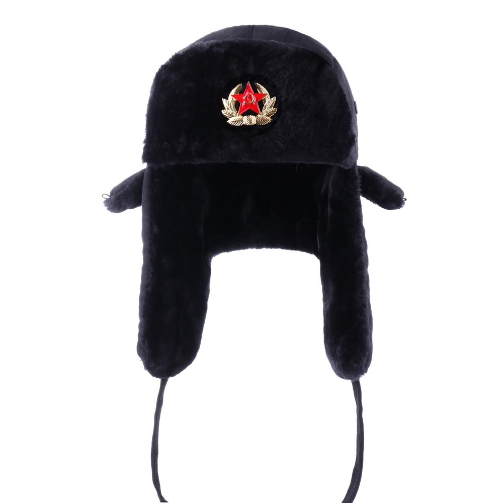 Russian Ushanka Soviet Army Military Badge Bomber Hats Pilot Trapper Aviator Cap Winter Faux Fur Earflap Snow Ski Caps Dad Hat