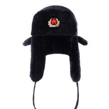 Ruso Ushanka del ejército soviético militar placa Bomber sombreros piloto  cazador de Aviador invierno imitación de piel con orej. e598d060754