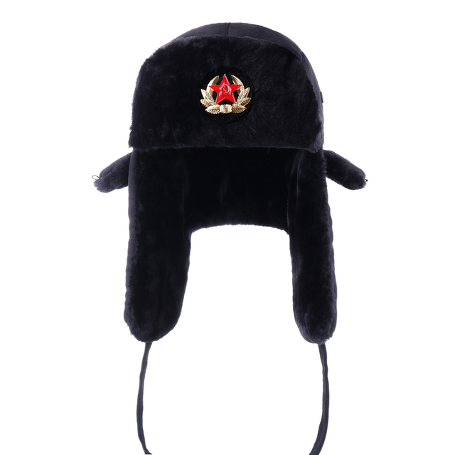Russian Ushanka Soviet Army Military Badge Bomber Hats Pilot Trapper  Aviator Cap Winter Faux Fur Earflap Snow Ski Caps Dad Hat 8c229f868425
