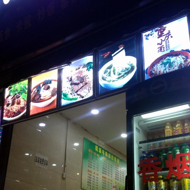 US $465 0  Restaurant Front LED Illuminated Menu Board Lightbox Snap Frame  Backlit Menu Signage A2-in Advertising Lights from Lights & Lighting on
