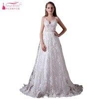 Bohemian Long Beach Wedding Dresses A Line V Neck Backless White/Ivory Simple Wedding Bridal Dress Gown Vestido De Noiva DQG091