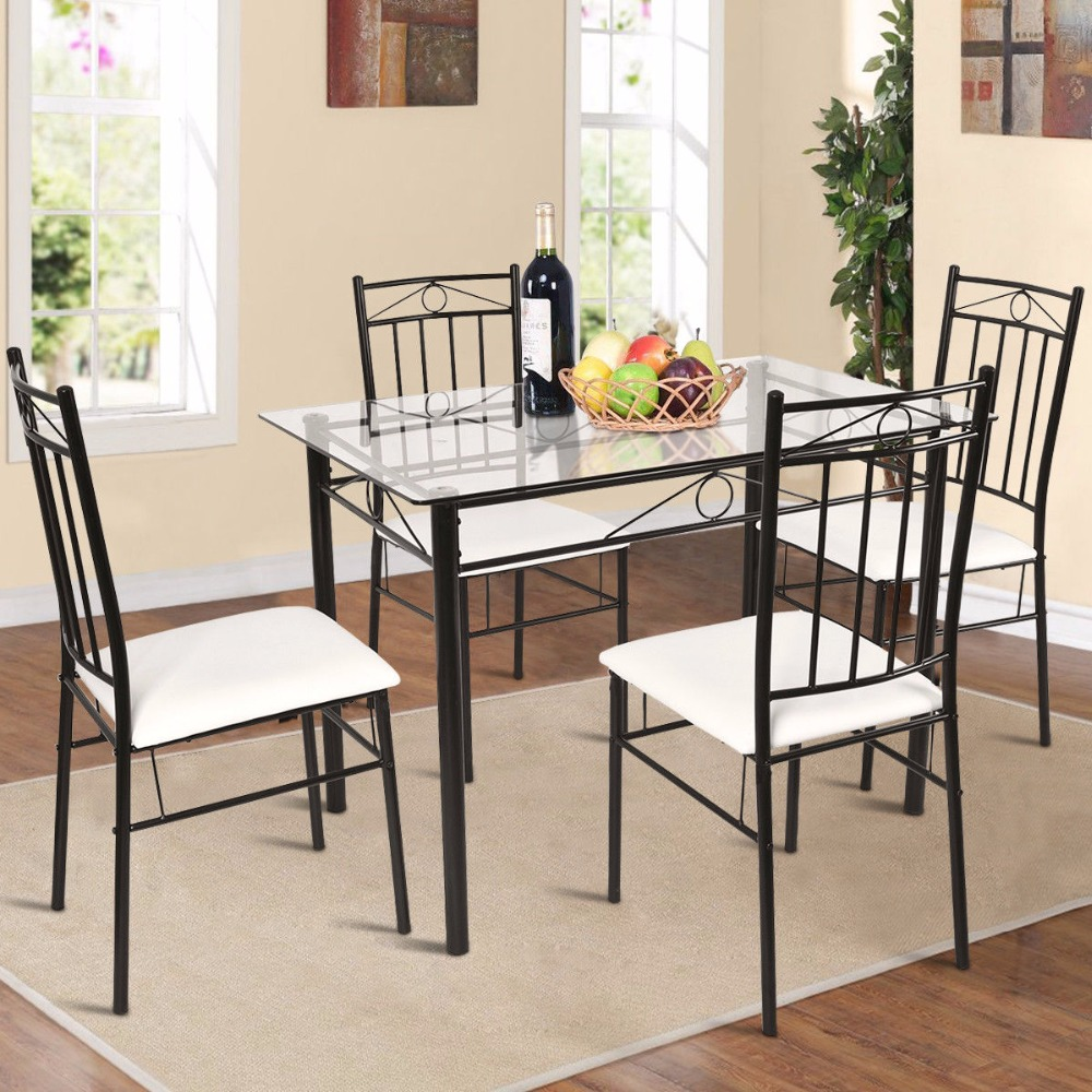 Giantex 5 Piece Dining Set Glass Metal Table and 4 Chairs Kitchen Breakfast Furniture Home Furniture HW52015Giantex 5 Piece Dining Set Glass Metal Table and 4 Chairs Kitchen Breakfast Furniture Home Furniture HW52015
