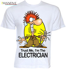 Mens Funny Cool Novelty Electrician Sparky New Job T Shirts Joke Gifts Presents Clothing Casual Short Sleeve