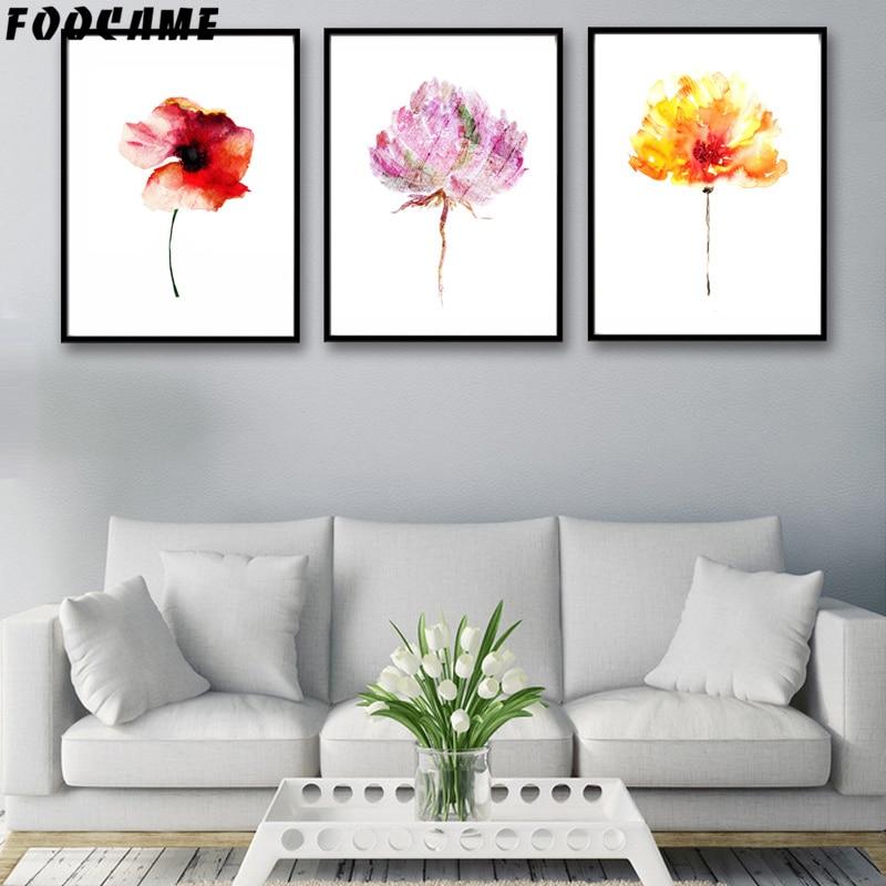 FOOKAME Akvarel bitkisi Çiçək Qırmızı sarı plakatlar və Çap - Ev dekoru - Fotoqrafiya 1