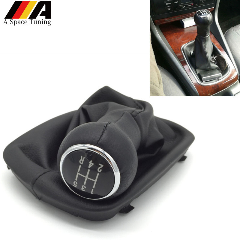5 Speed Manual Gear Shift Knob With Leather Gaiter For Audi A4 B5 A6 C5 A8 D2
