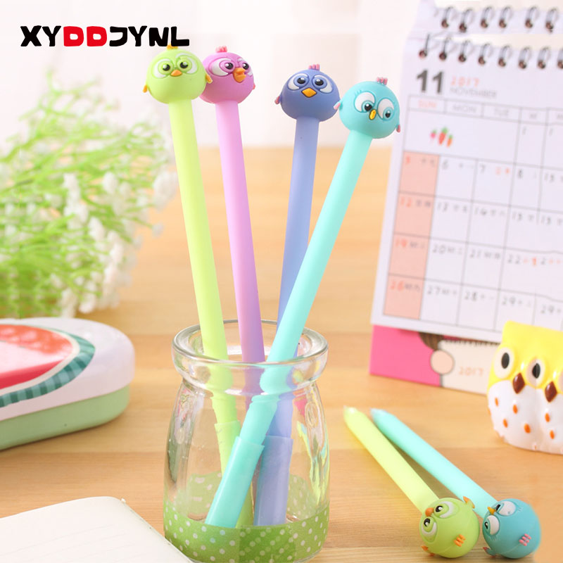 2pcs/set 0.38mm Cute Novelty Brave Bird Gel Ink Pen Promotional Gift Stationery School & Office Supply Christmas Present