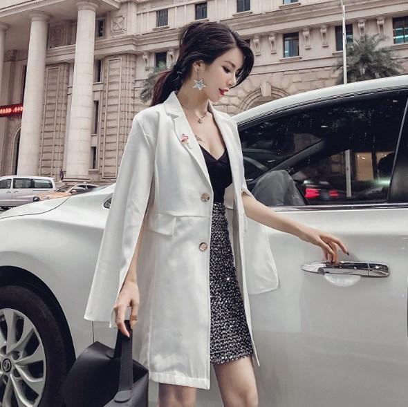Luxury Womens Long Double Breasted Blazer Women Sexy Cloak Cape Poncho Suit Jacket Women Split Sleeve Slim Blazer Black White