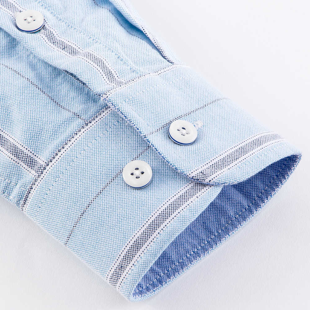 Langmeng 長袖綿 100% カジュアルシャツ男性ブランドファッションストライプドレスシャツメンズ男性社会シャツ厚手のオックスフォード