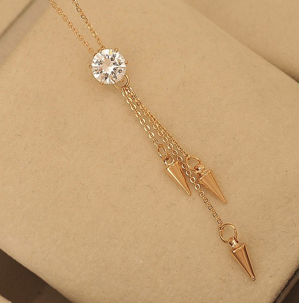 Female fashion design arrow tassel zricon pendant necklace short female fashion design arrow tassel zricon pendant necklace short design short chain necklace rose gold champagne gold in pendant necklaces from jewelry aloadofball Gallery