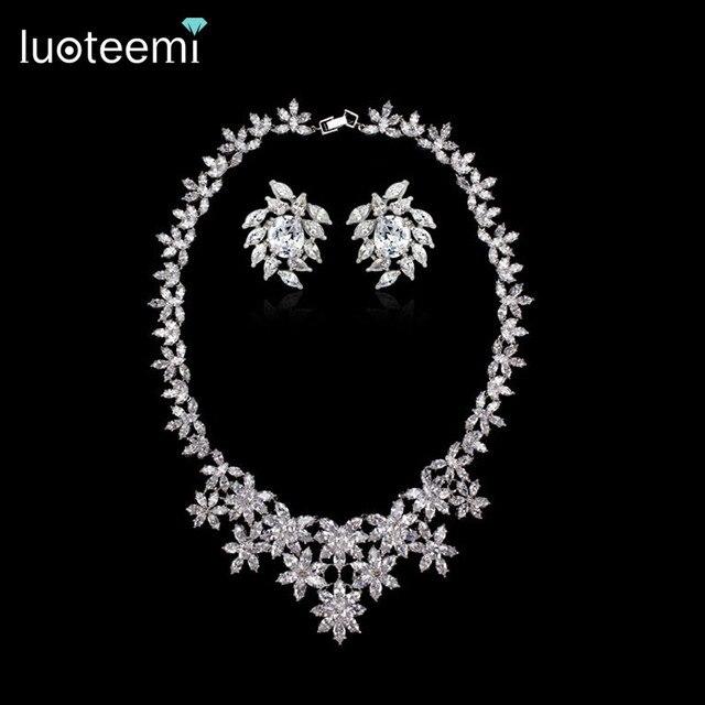 LUOTEEMI Women's Luxury Necklace Top Grade AAA CZ Stone Bridal Flower Jewelry Necklace Earrings Sets Wedding Accessories