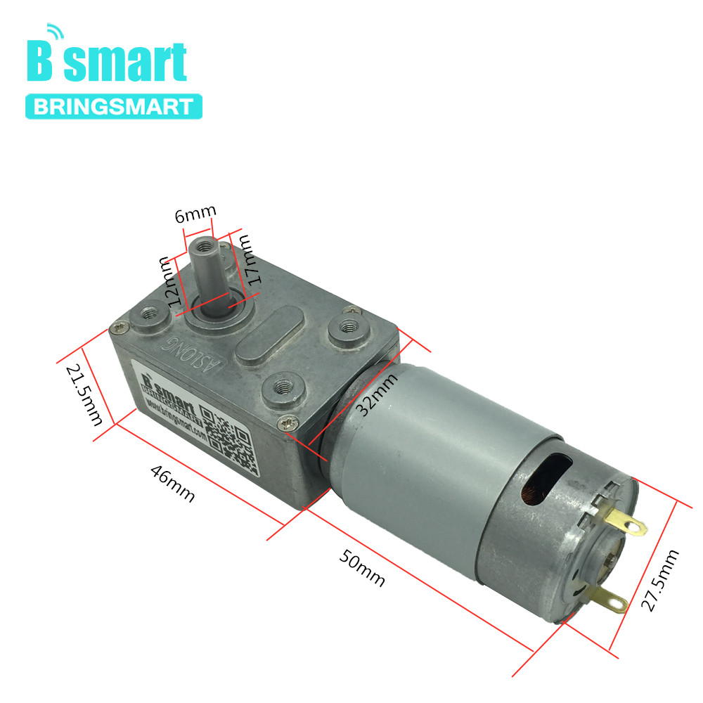 Bringsmart 12V Worm Gear Motor DC Mini Reducer Motor Worm Reduction Gearbox Engine Self-Locking Geared Motor JGY-395 image