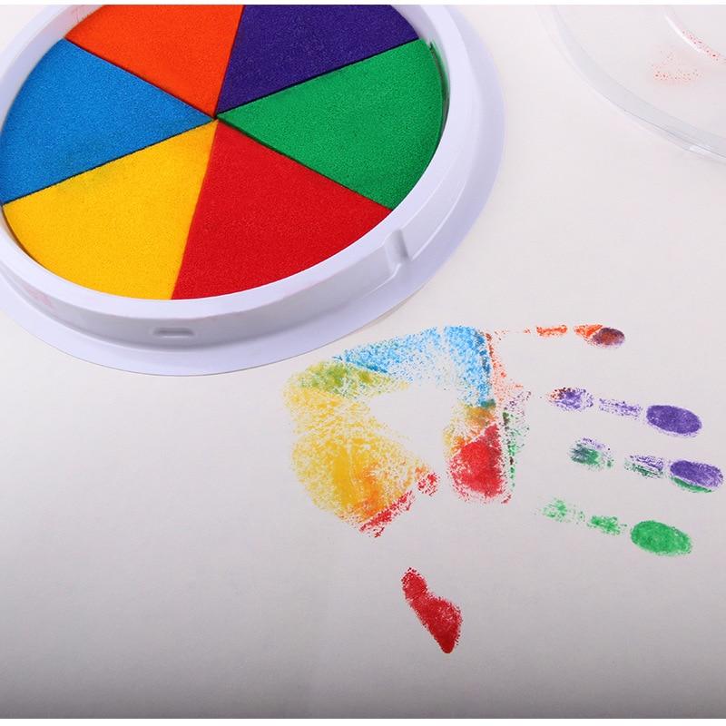 Baby Handprint Footprint Non-Toxic Newborn Imprint Hand Inkpad Watermark Infant Souvenirs Casting Clay Colorful Footprint Sponge(China)