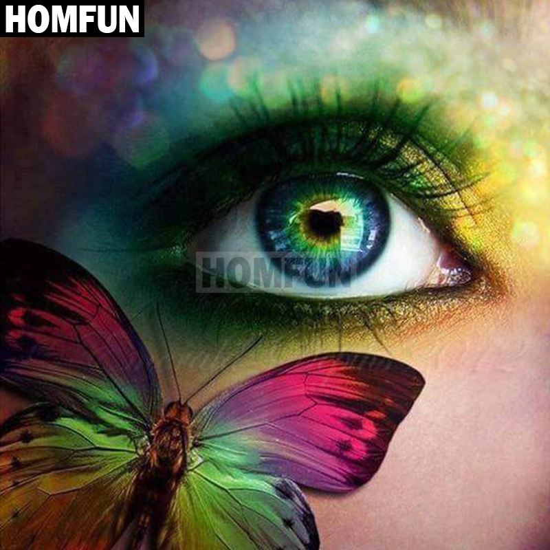 """HOMFUN Full Square/Round Drill 5D DIY Diamond Painting """"Eye Butterfly"""" Embroidery Cross Stitch 5D Home Decor Gift A02165"""