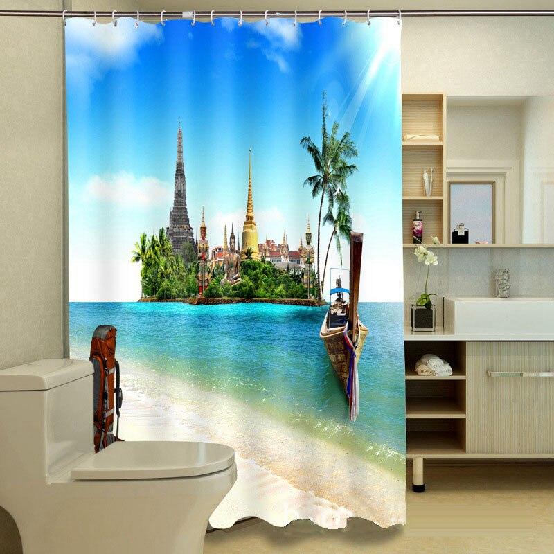 MYRU 3D Print Playa Impermeable Belleza Cortinas De Ducha Productos de Baño Deco