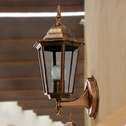 ФОТО Europe classic hexagonal pavilion clear glass wall lamps American waterproof lights for stairs&courtyard&porch&aisle ZLBD001
