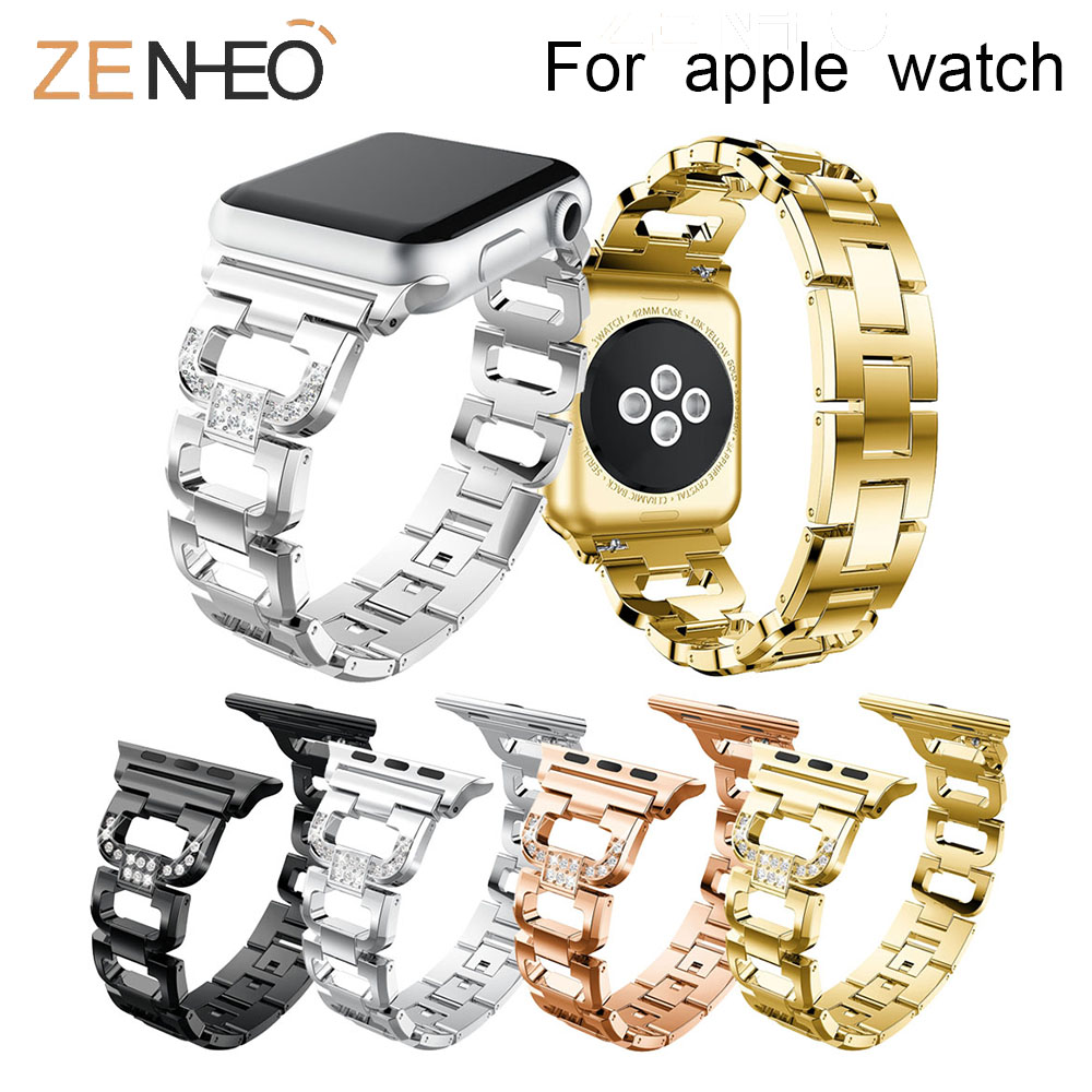 Luxury For Apple Watch Band Metal Women's Bracelet For Iwatch Series 4 3 2 1 44mm 40mm 38mm 42mm Wristband Rhinestone Strap